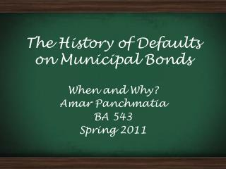 The History of Defaults on Municipal Bonds