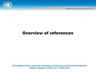 Overview of references