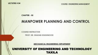 MANPOWER PLANNING AND CONTROL