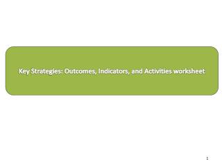 Key Strategies: Outcomes, Indicators, and Activities worksheet