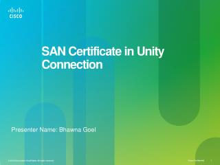 SAN Certificate in Unity Connection
