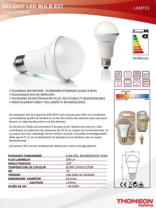DELIGHT LED BULB E27  TABE272K6,6Z