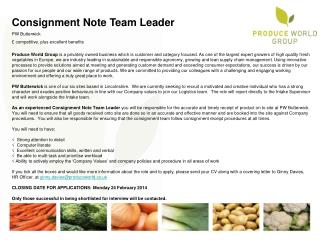 Consignment Note Team Leader PW Butterwick £ competitive, plus excellent benefits