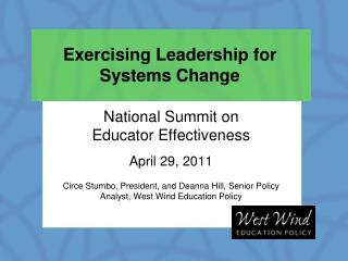 Exercising Leadership for Systems Change