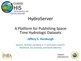 HydroServer A Platform for Publishing Space-Time Hydrologic Datasets