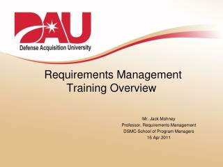 Requirements Management  Training Overview