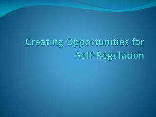 Creating Opportunities for  Self-Regulation