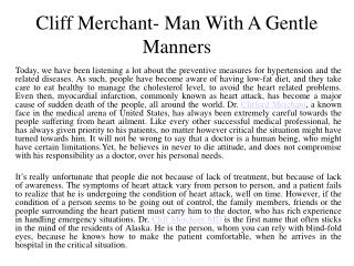 Cliff Merchant- Man With A Gentle Manners.
