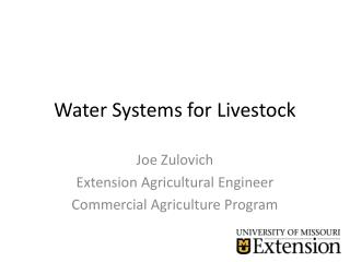 Water  System s  for Livestock