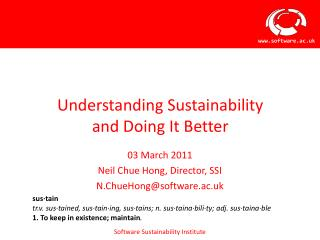 Understanding Sustainability  and Doing It Better
