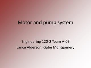 Motor and pump system