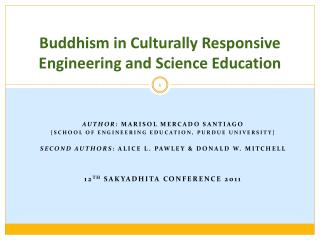 Buddhism in Culturally Responsive Engineering and Science Education