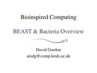 Bioinspired Computing BEAST & Bacteria Overview