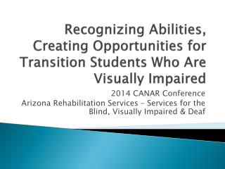 Recognizing Abilities, Creating Opportunities for Transition Students Who Are Visually Impaired