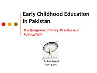 Early Childhood Education in Pakistan