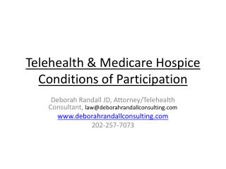 Telehealth & Medicare Hospice Conditions of Participation