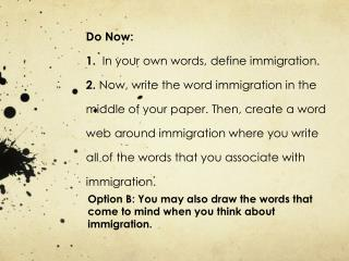 Option B: You may also draw the words that come to mind when you think about immigration.
