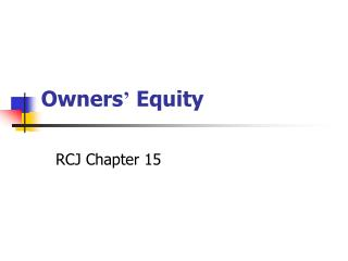Owners ' Equity