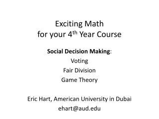 Exciting Math for  y our 4 th  Year Course