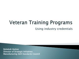 Veteran Training Programs