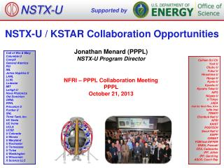 NSTX-U  / KSTAR Collaboration  Opportunities