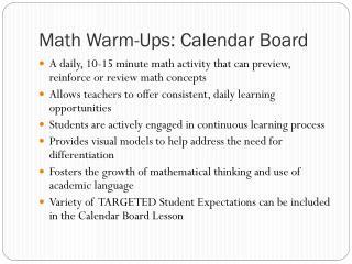 Math Warm-Ups: Calendar Board