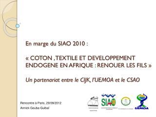 Rencontre à Paris, 29/09/2012 Annick  Gouba - Guibal
