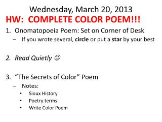 Wednesday, March 20, 2013