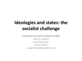 Ideologies and states: the socialist  challenge
