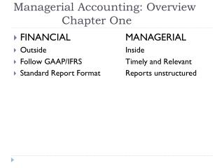 Managerial Accounting: Overview 		 Chapter One