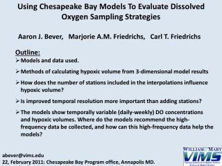 Using Chesapeake Bay Models To Evaluate Dissolved Oxygen Sampling Strategies
