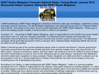 SWAT Radon Mitigation Promotes National Radon Testing Month,