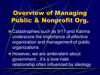 Overview of Managing Public & Nonprofit Org.