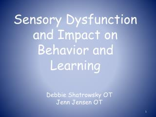 Sensory Dysfunction and Impact on Behavior and Learning