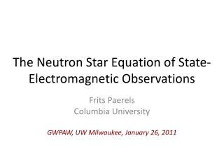 The Neutron Star Equation of State- Electromagnetic Observations