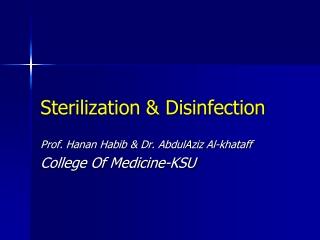 Sterilization  Disinfection