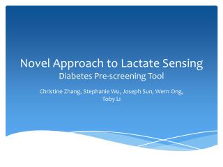 Novel Approach to Lactate Sensing Diabetes Pre-screening Tool
