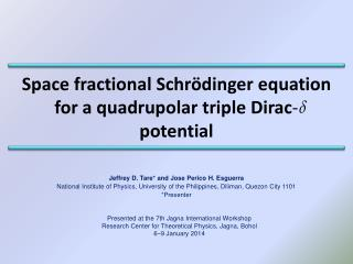 Space fractional Schrödinger equation for a quadrupolar triple Dirac -  potential