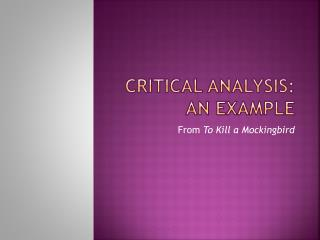 Critical Analysis:  An Example