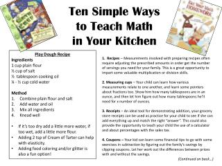 Ten Simple Ways  to Teach Math  in Your Kitchen