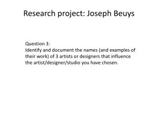 Research project: Joseph Beuys