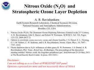 Nitrous Oxide (N 2 O )  and Stratospheric Ozone Layer Depletion