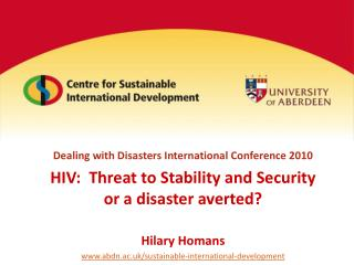 Dealing with Disasters International Conference 2010