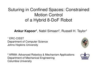 Suturing in Confined Spaces: Constrained Motion Control  of a Hybrid 8-DoF Robot