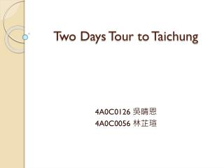 Two Days Tour to Taichung