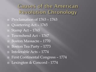 Causes of the American Revolution Chronology