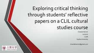 Exploring critical thinking through students' reflective papers on a CLIL cultural studies course