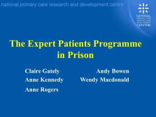 The Expert Patients Programme in Prison