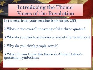 Introducing the Theme: Voices of the Revolution