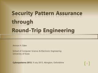 Security Pattern Assurance  through  Round-Trip Engineering